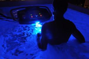 Person in Dark HydroWorx Pool