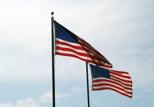 A pair of raised American flags