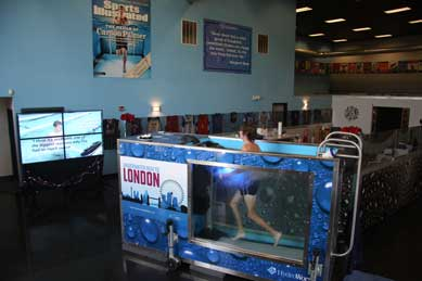 London ad on side of HydroWorx treadmill tank