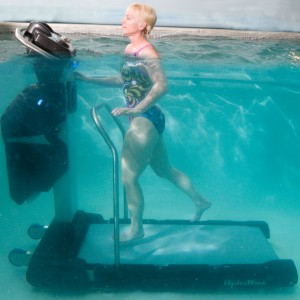 Person running on underwater treadmill