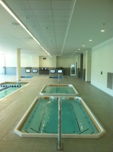 HydroWorx room full of therapy pools