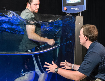 Person running in HydroWorx tank