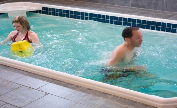 Water therapy group training in pool