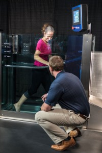 Water therapy in glass tank