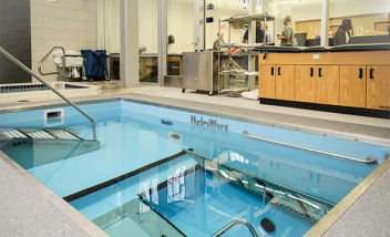 HydroWorx pool with indoor view of facility