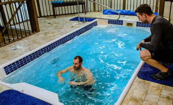 Person using Hydroworx indoor training pool